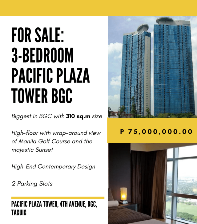 3 Bedroom Condo for Sale at PAcific Plaza Tower by Broker Carla Calleja
