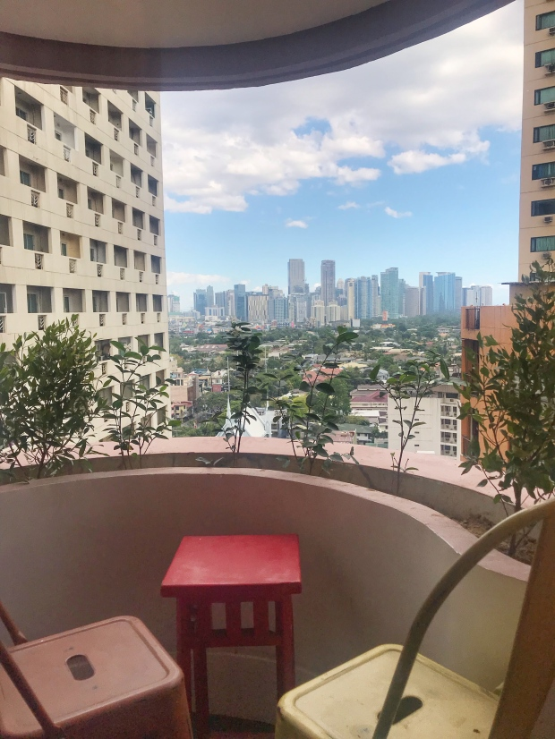 Balcony with the view of Bel-Air Village greens and Ortigas Skyline